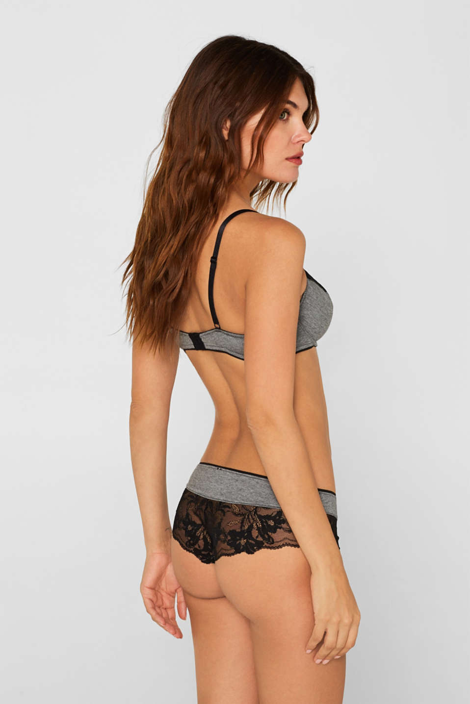 Brazilian hipster shorts with lace, DARK GREY, detail image number 2