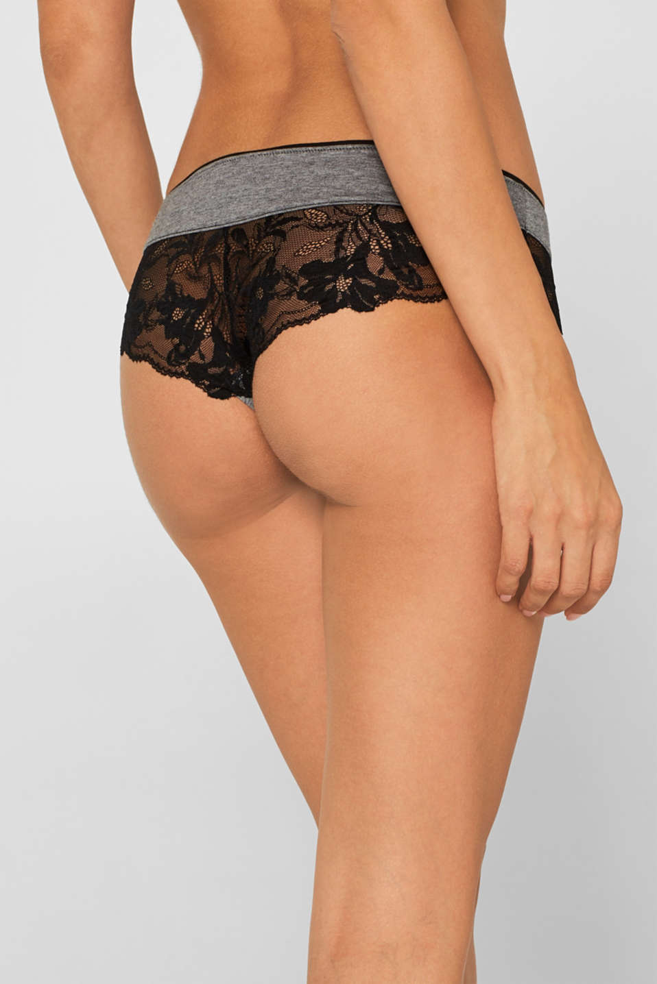 Brazilian hipster shorts with lace, DARK GREY, detail image number 1