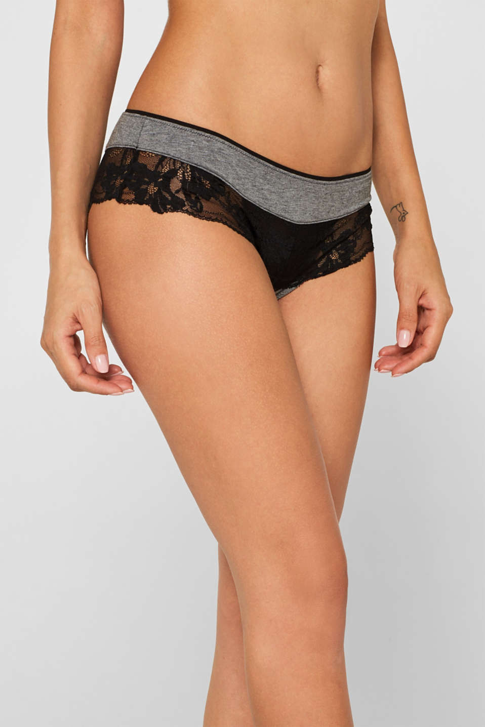 Brazilian hipster shorts with lace, DARK GREY, detail image number 3