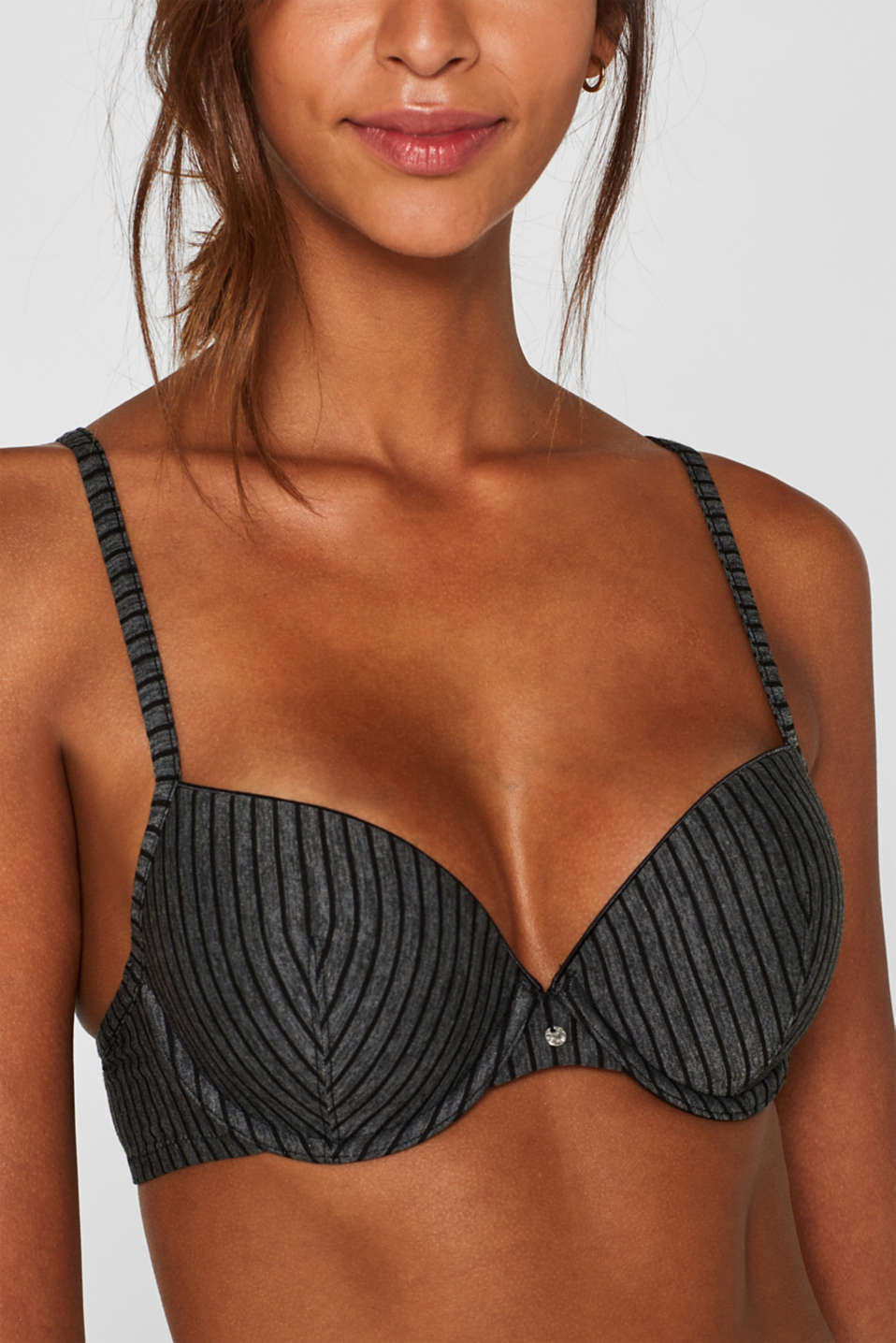 Padded underwire bra with stripes, DARK GREY, detail image number 2