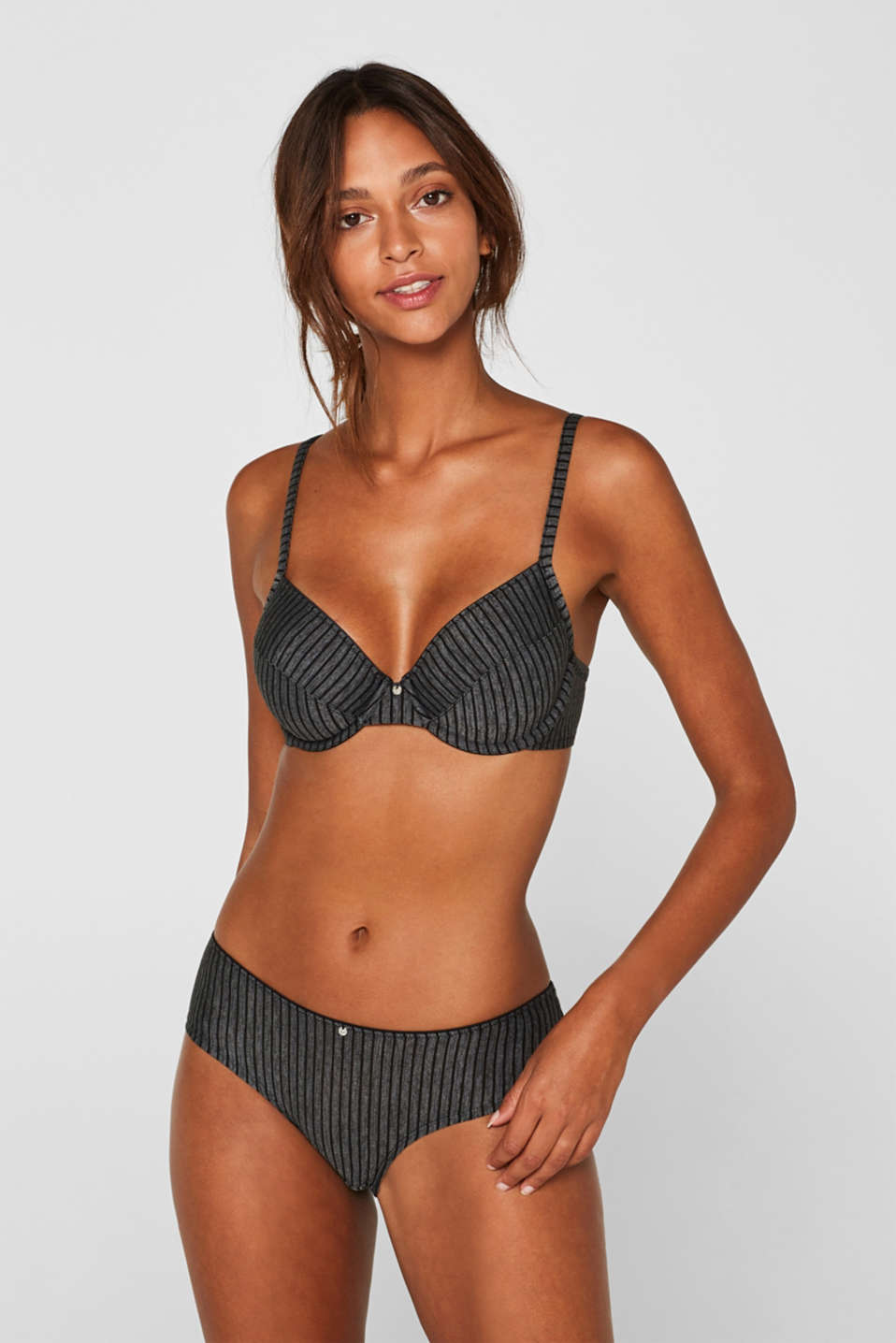 Unpadded underwire bra with stripes, DARK GREY, detail image number 0