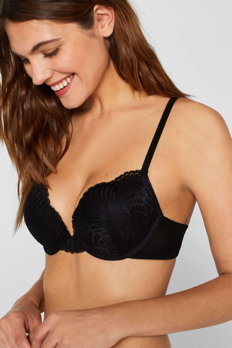 Push-up bra in decorative lace, BLACK, detail image number 2