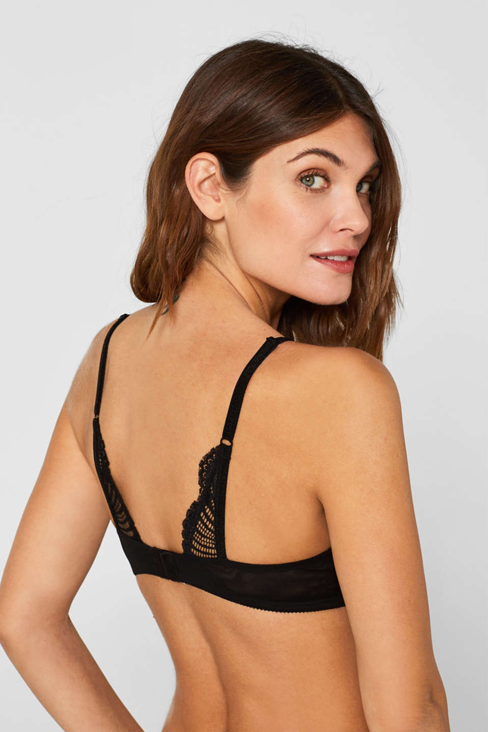 Push-up bra in decorative lace, BLACK, detail image number 3