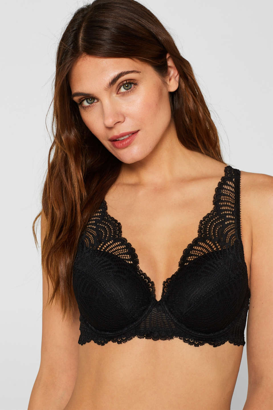 Esprit - Padded underwire bra made of decorative lace