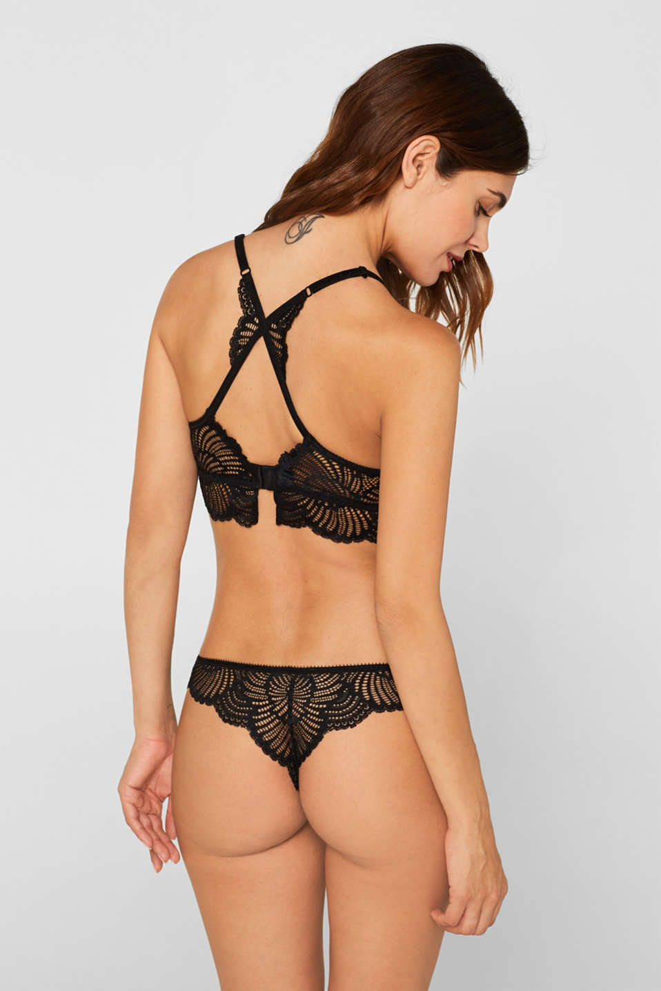 Padded wireless bra in lace, BLACK, detail image number 1
