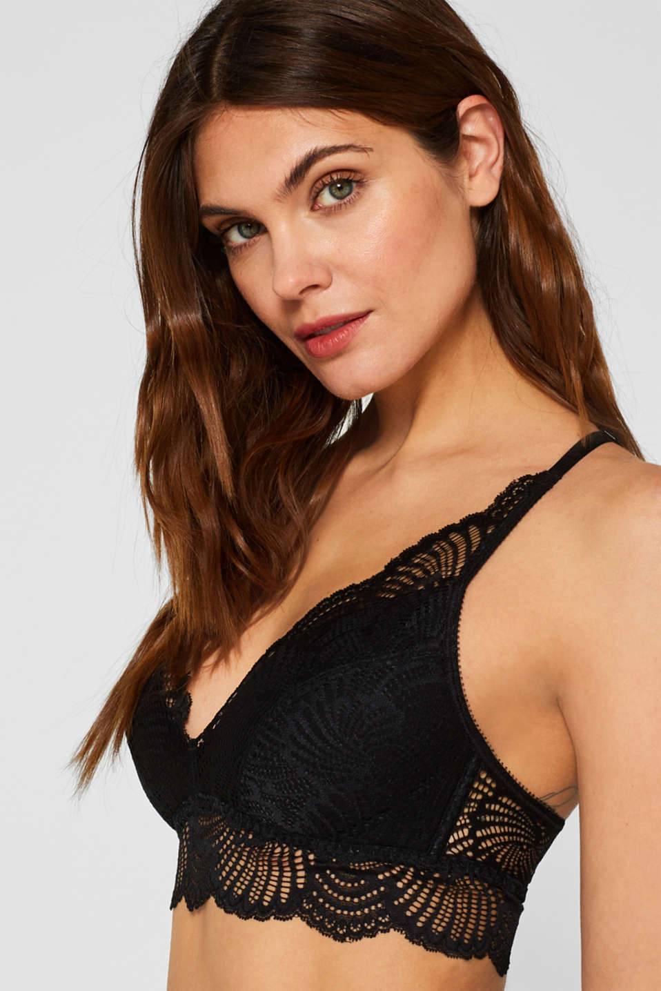 Padded wireless bra in lace, BLACK, detail image number 2