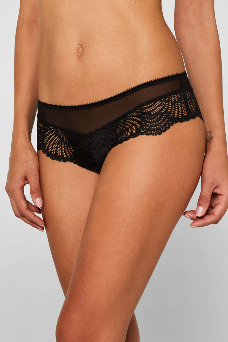 Hipster shorts in decorative lace, BLACK, detail image number 0