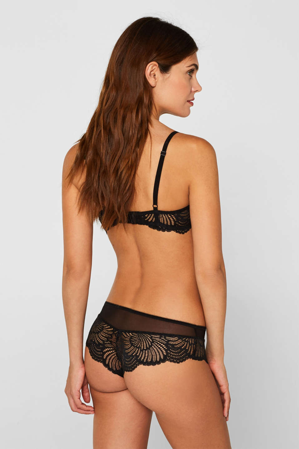 Hipster shorts in decorative lace, BLACK, detail image number 3