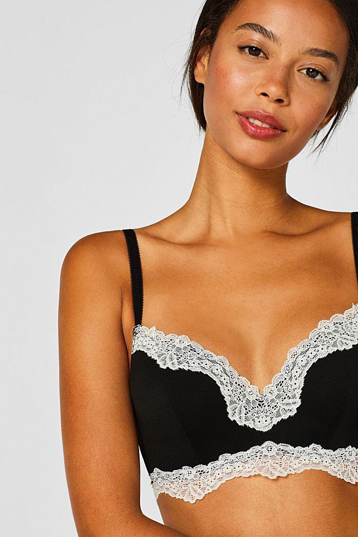 Underwire bra with contrasting lace, BLACK, detail image number 0