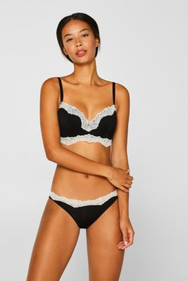 Underwire bra with contrasting lace, BLACK, detail