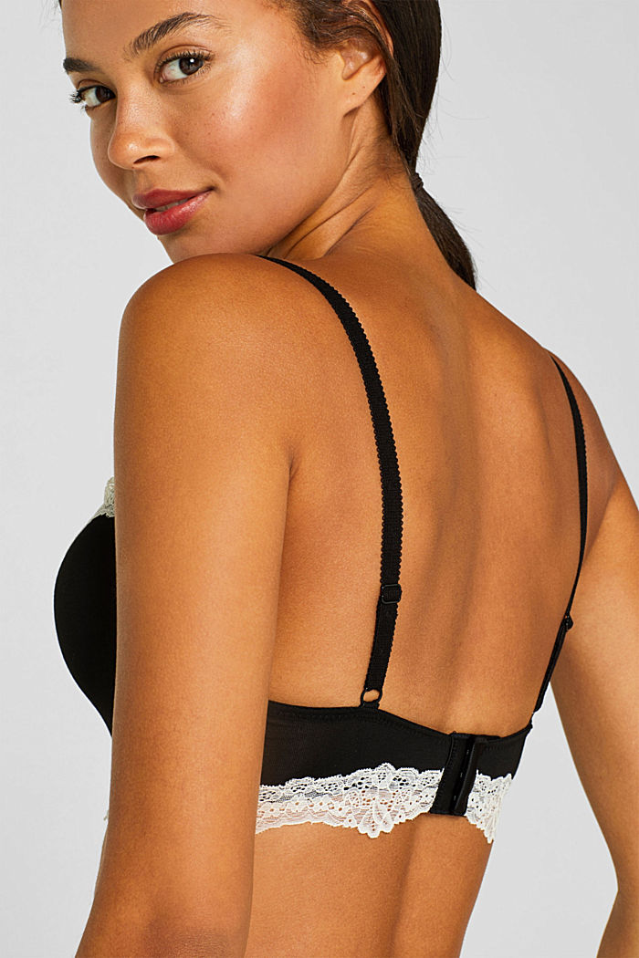 Underwire bra with contrasting lace, BLACK, detail image number 3