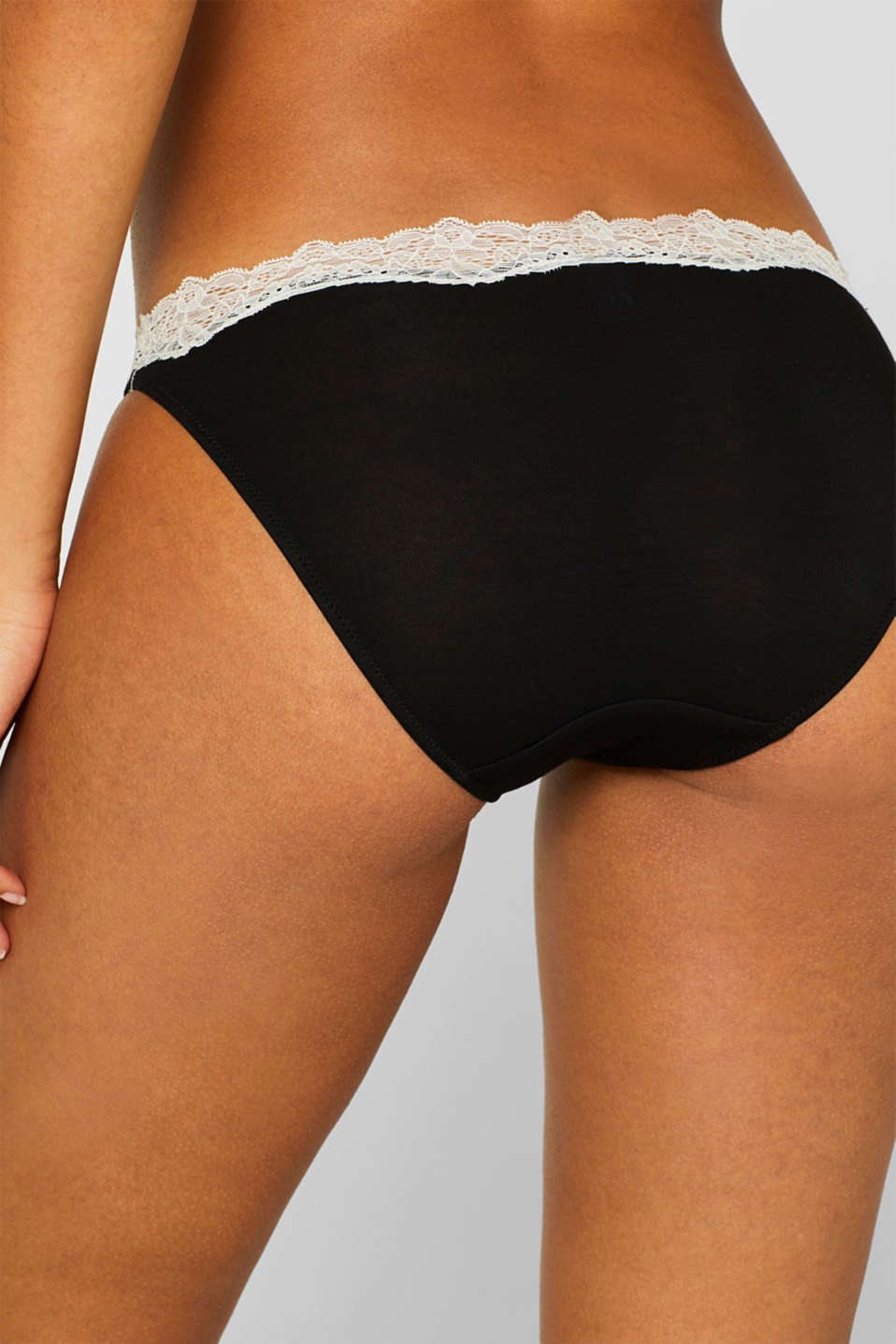 Hipster briefs with contrasting lace, BLACK, detail image number 2
