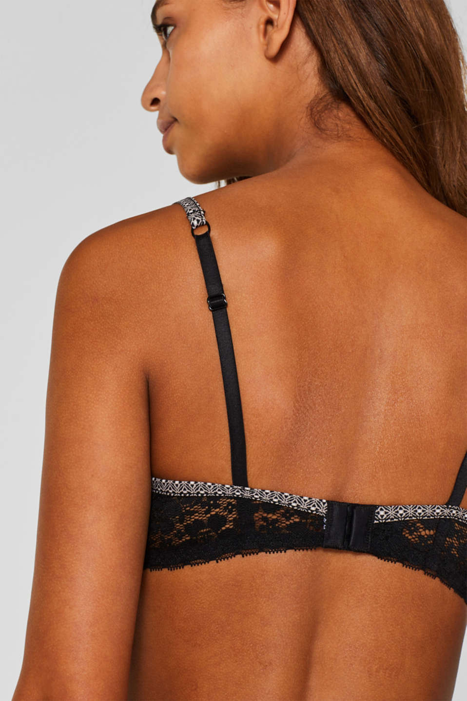Padded underwire bra with minimal pattern, BLACK, detail image number 3