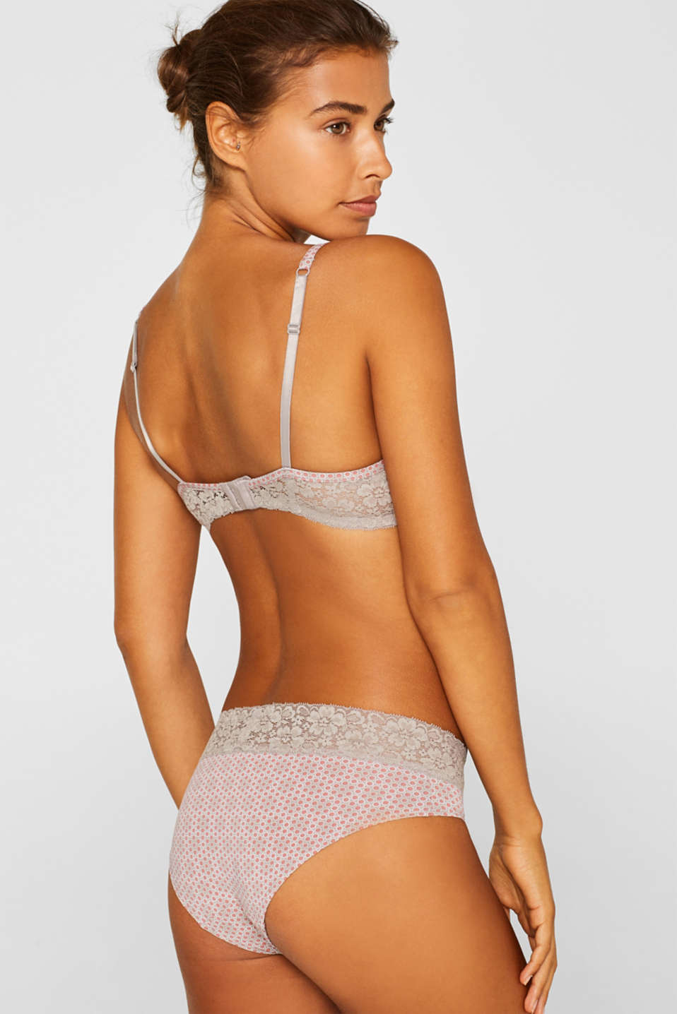Padded underwire bra with minimal pattern, TAUPE, detail image number 1