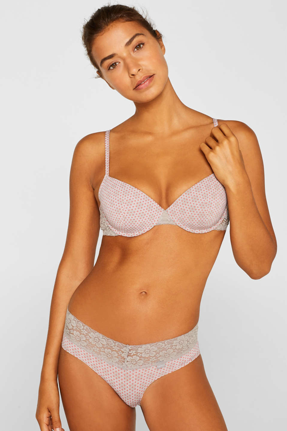 Padded underwire bra with minimal pattern, TAUPE, detail image number 2