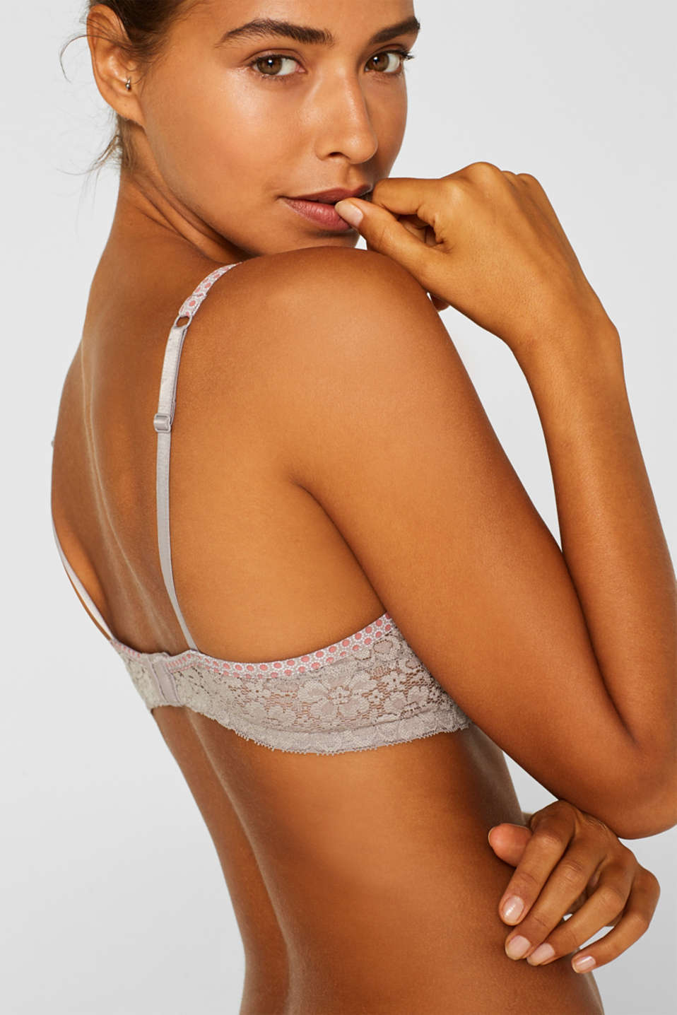 Padded underwire bra with minimal pattern, TAUPE, detail image number 4