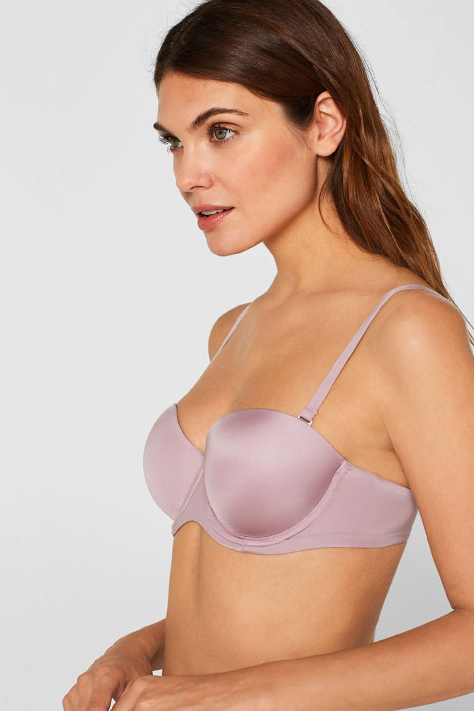 Padded underwire bra with detachable straps, MAUVE, detail image number 2