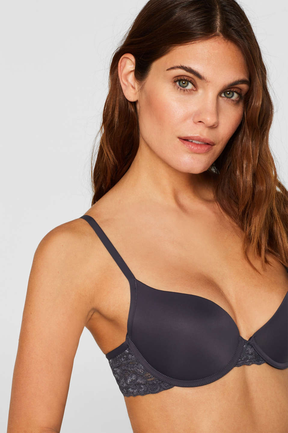 Padded push-up bra with lace, ANTHRACITE, detail image number 0