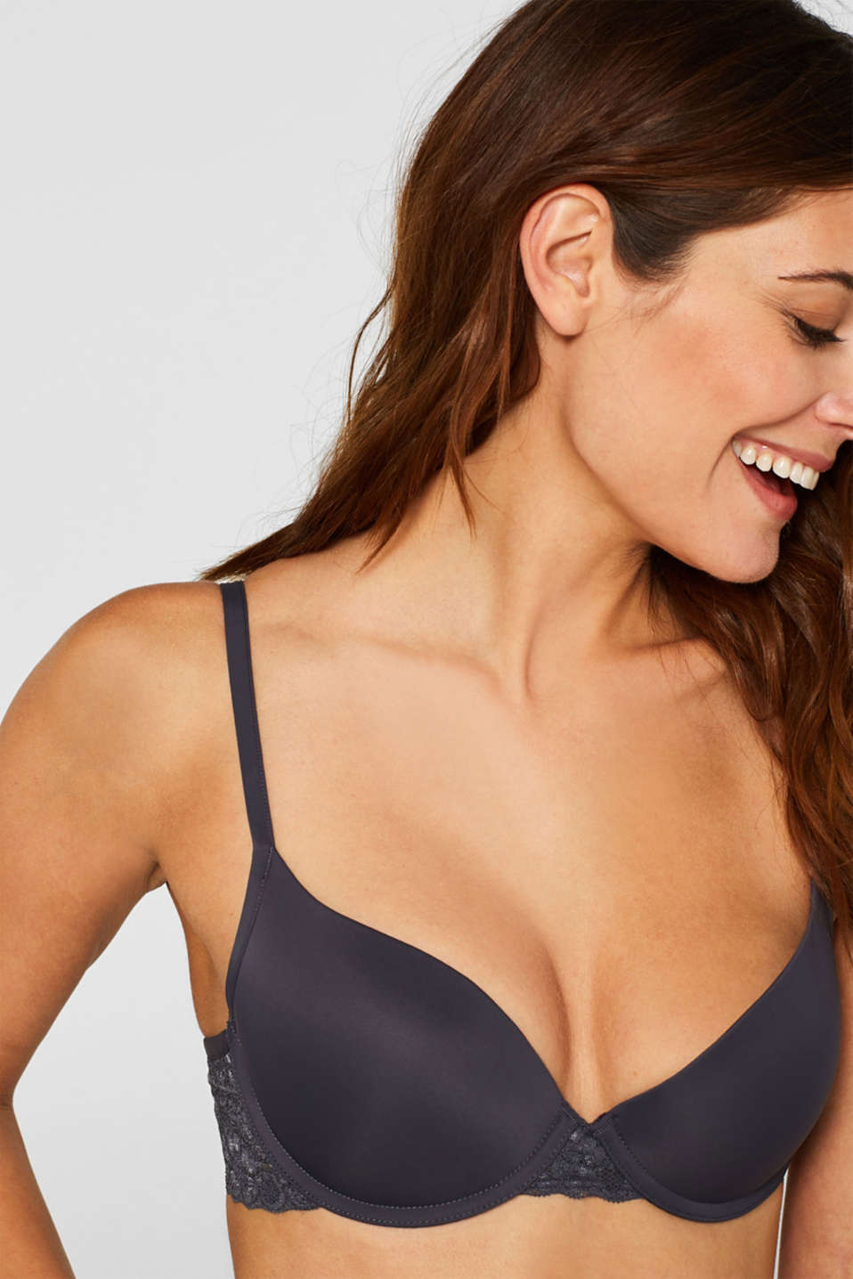 Padded push-up bra with lace, ANTHRACITE, detail image number 4