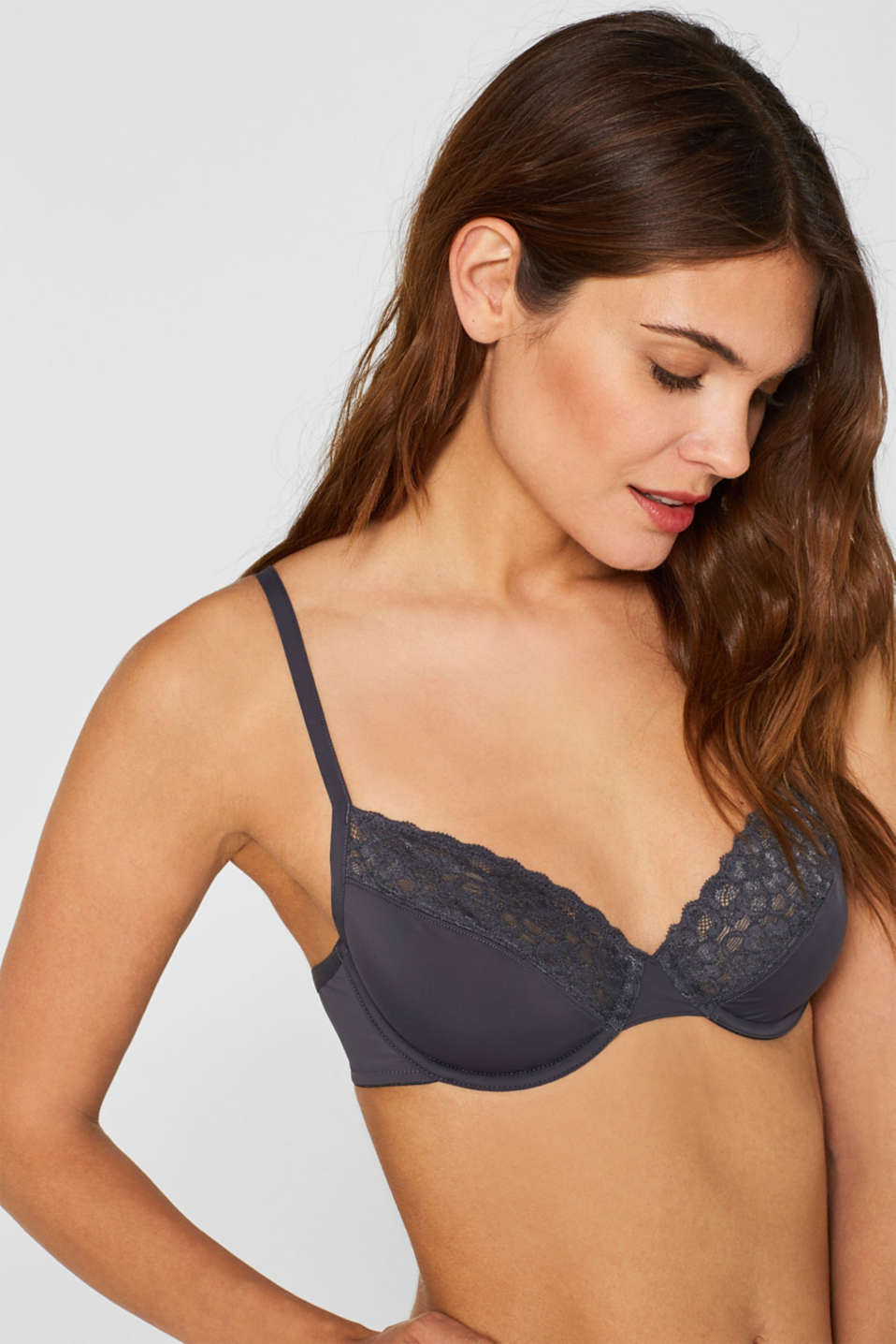 Esprit - Unpadded, underwire bra made of microfibre/lace