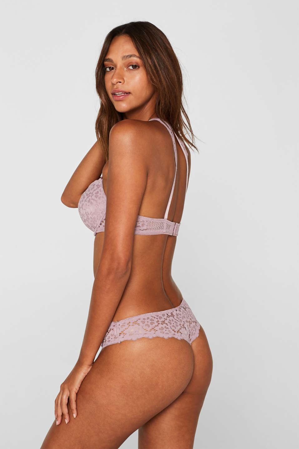 Brazilian hipster thong with lace, MAUVE, detail image number 2
