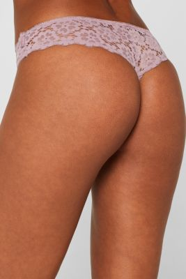 Brazilian hipster thong with lace, MAUVE, detail