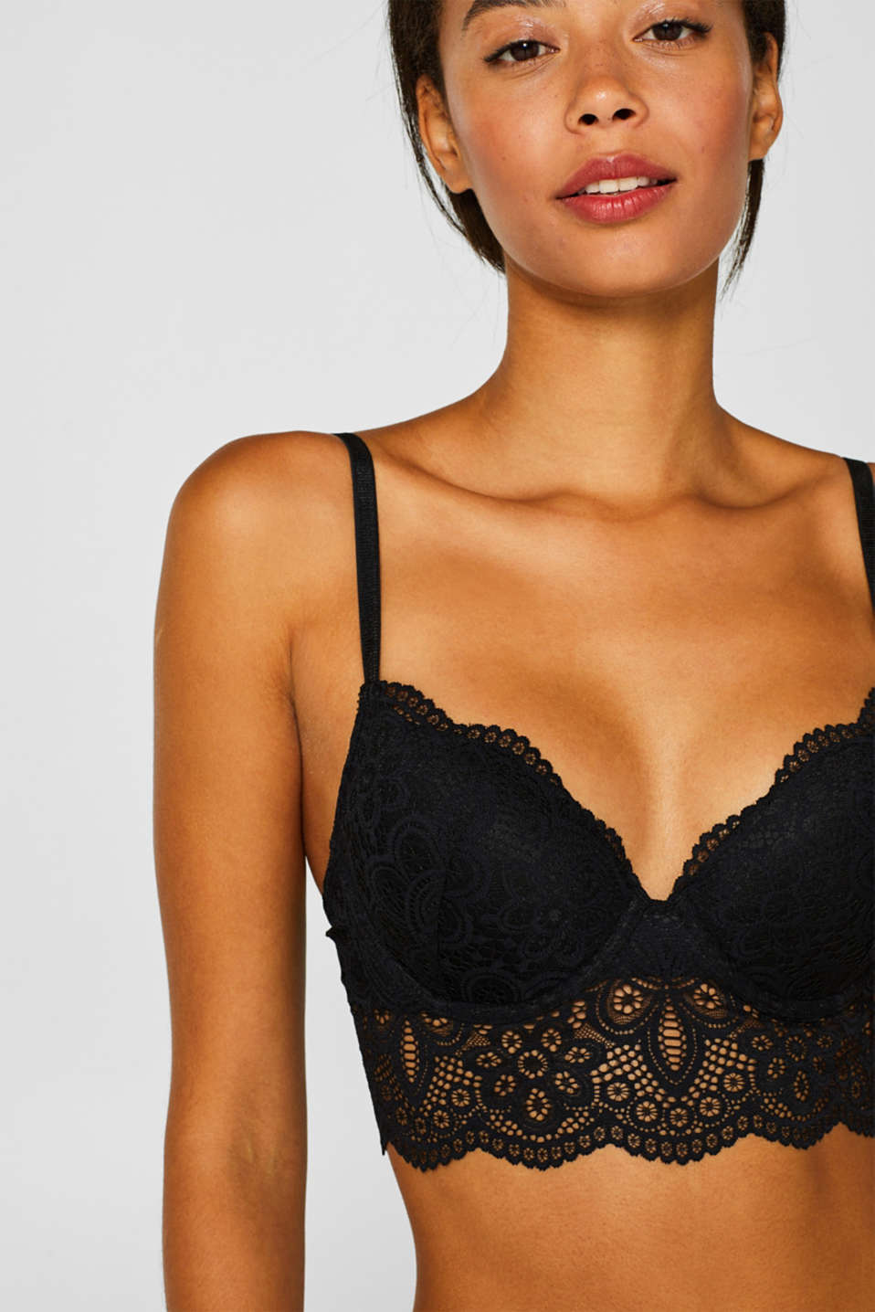 Padded underwire bodice made of lace, BLACK, detail image number 0