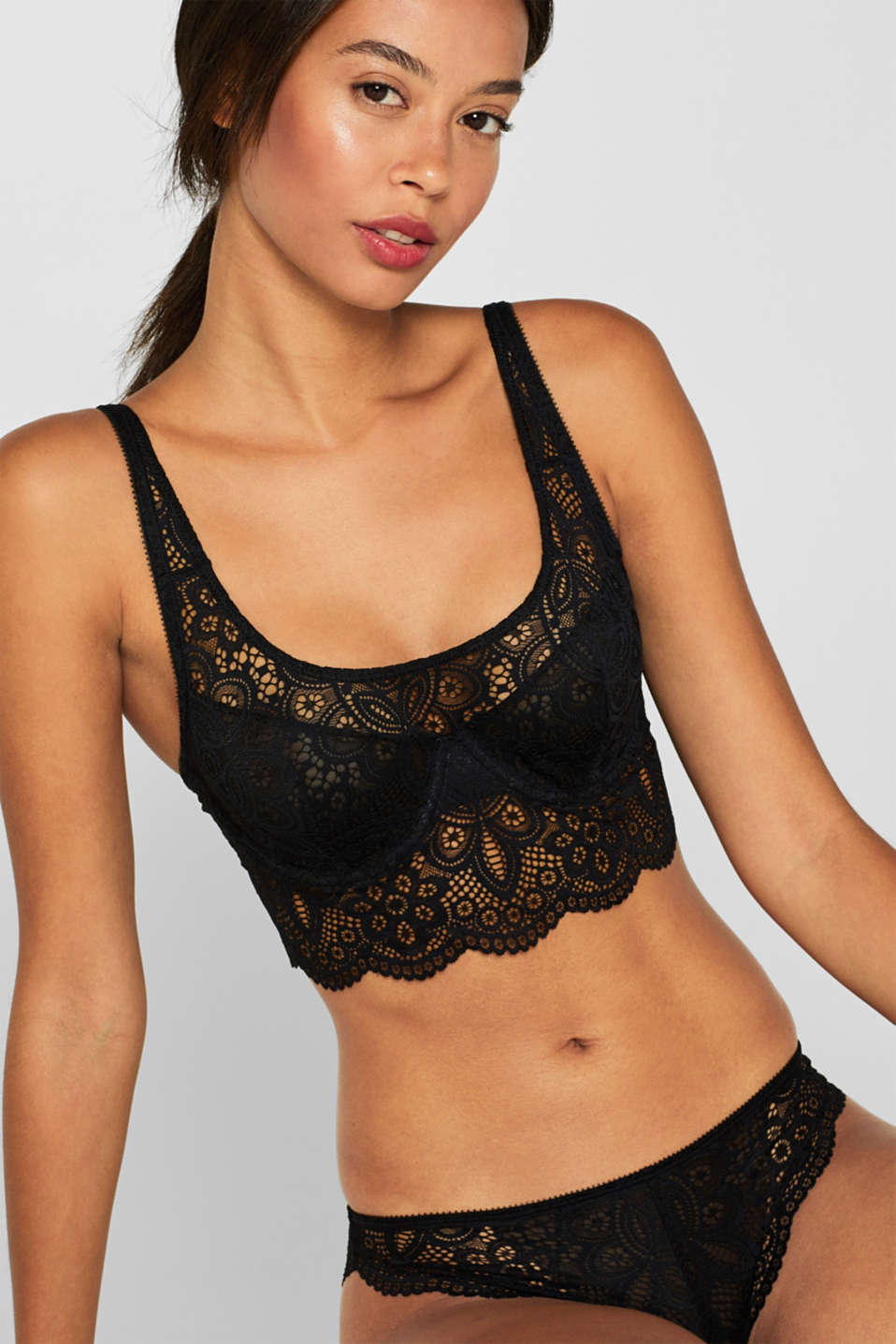 Non-padded underwire bralet made of lace, BLACK, detail image number 0