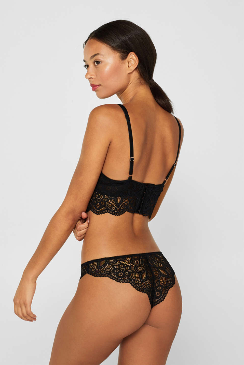 Non-padded underwire bralet made of lace, BLACK, detail image number 1