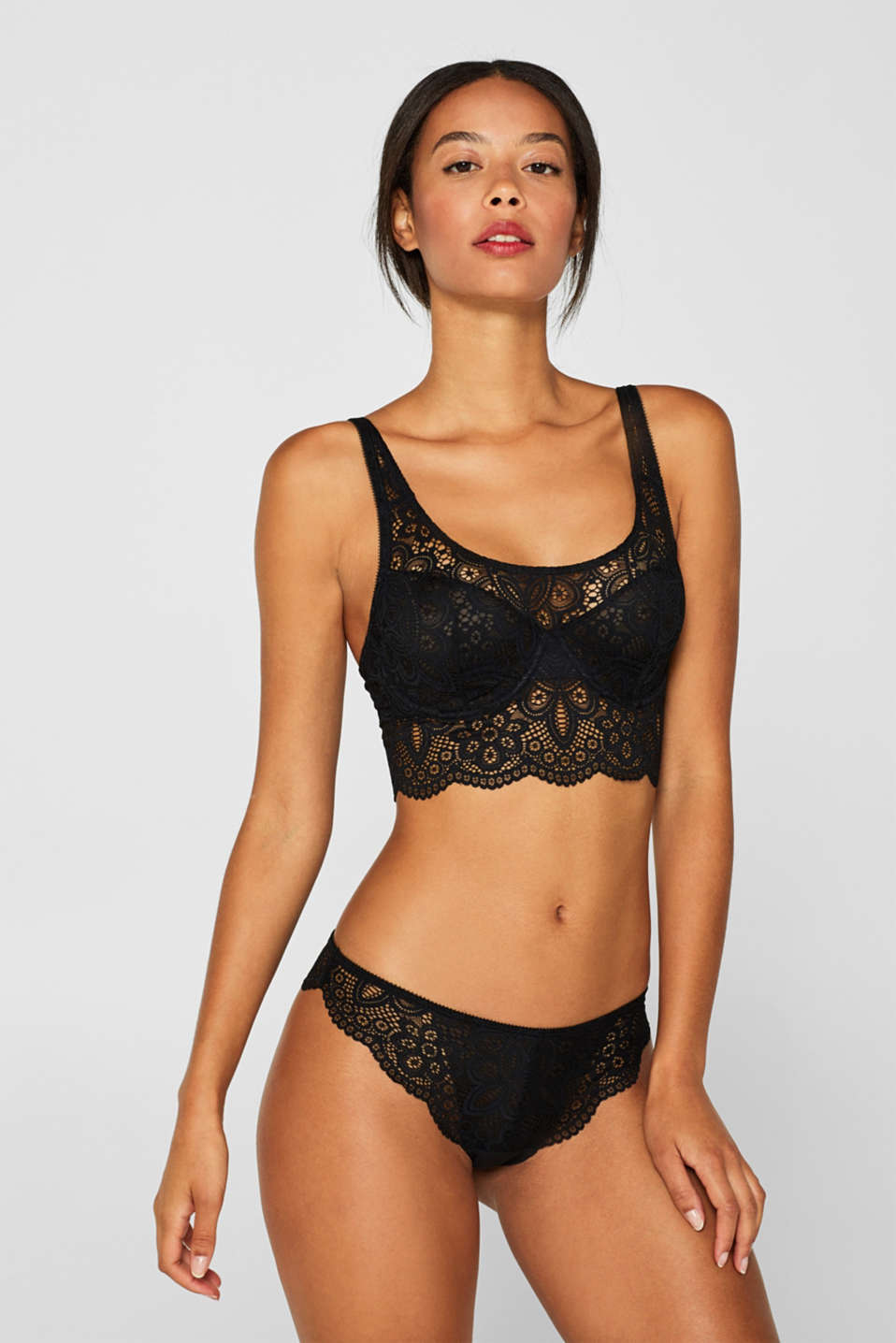 Non-padded underwire bralet made of lace, BLACK, detail image number 2