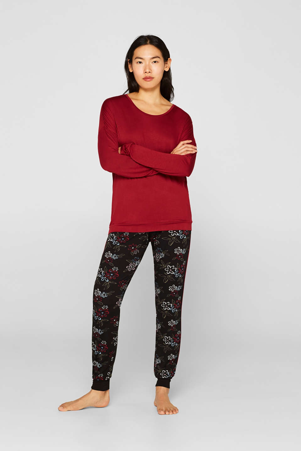 Esprit - Stretch jersey pyjamas with print bottoms