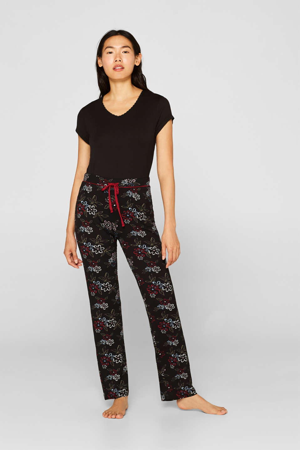 Esprit - Stretch jersey trousers with piping