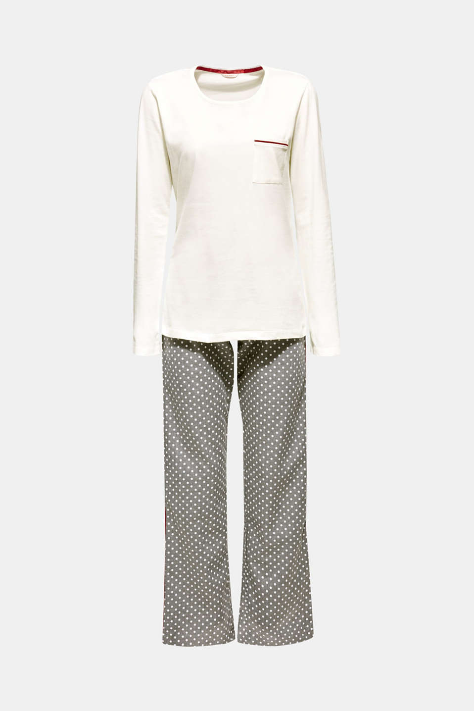 Esprit - Material mix pyjamas with piping