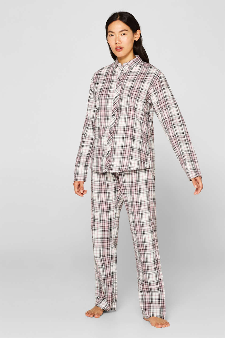 Flannel pyjamas, 100% cotton, OFF WHITE, detail image number 0
