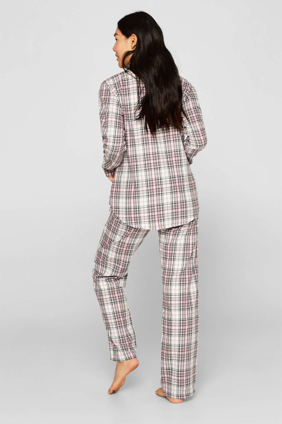 Flannel pyjamas, 100% cotton, OFF WHITE, detail image number 1