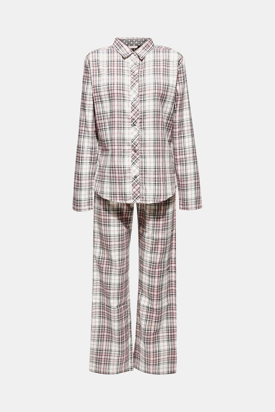 Flannel pyjamas, 100% cotton, OFF WHITE, detail image number 4