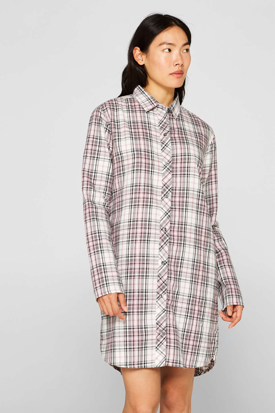 Flannel nightshirt made of 100% cotton, OFF WHITE, detail image number 1