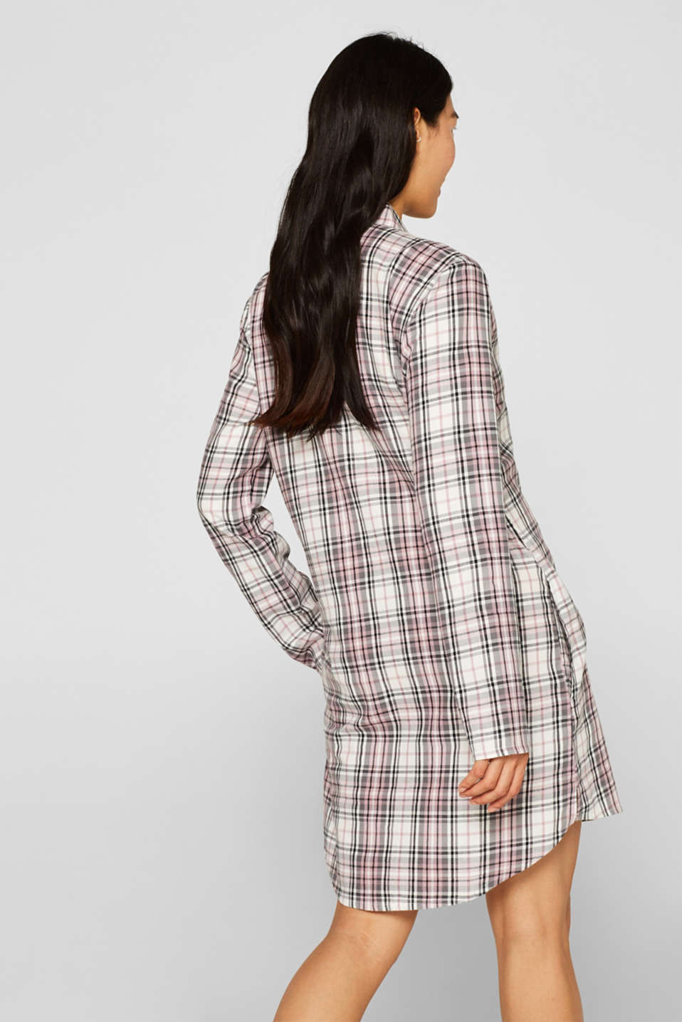 Flannel nightshirt made of 100% cotton, OFF WHITE, detail image number 2