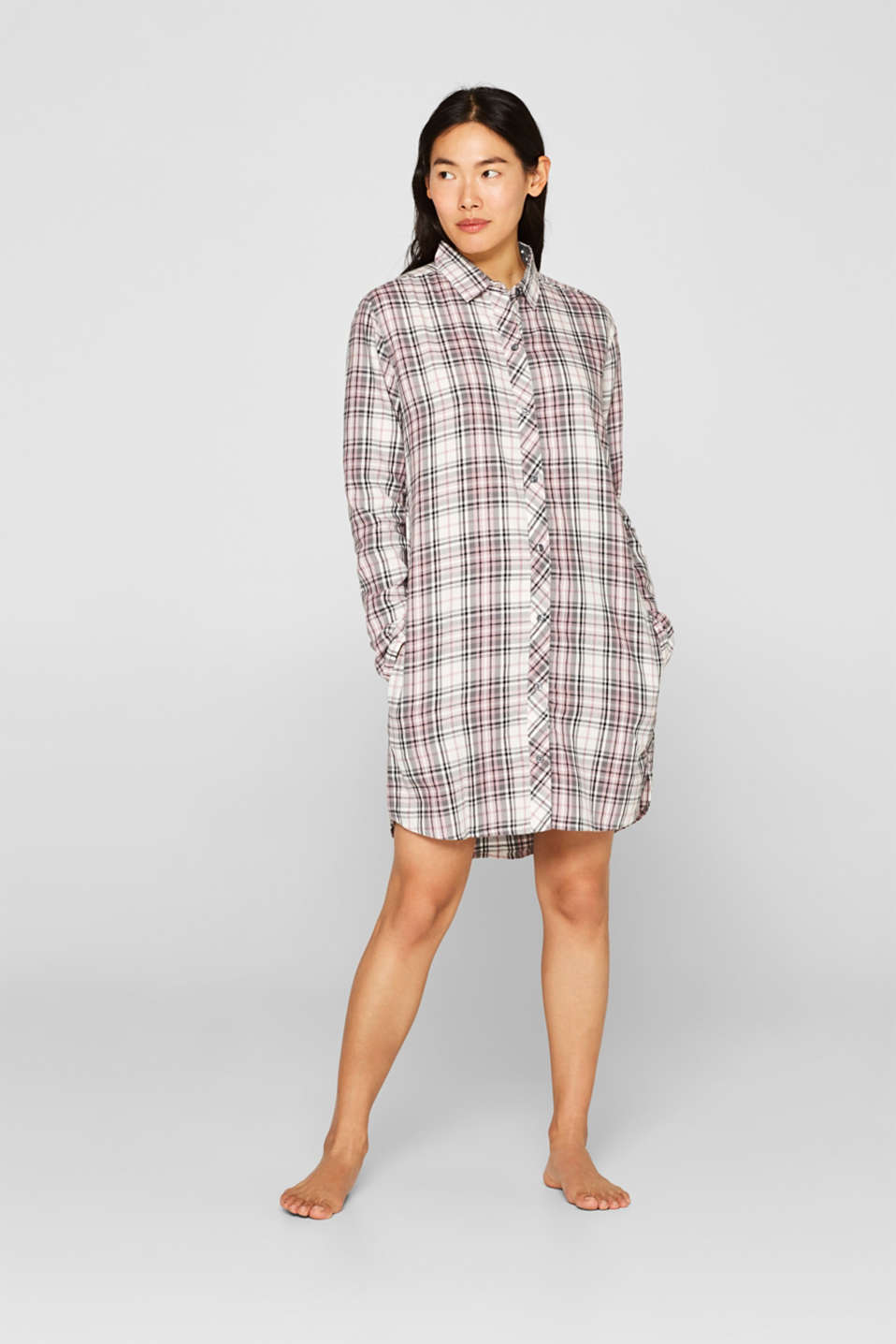 Flannel nightshirt made of 100% cotton, OFF WHITE, detail image number 0