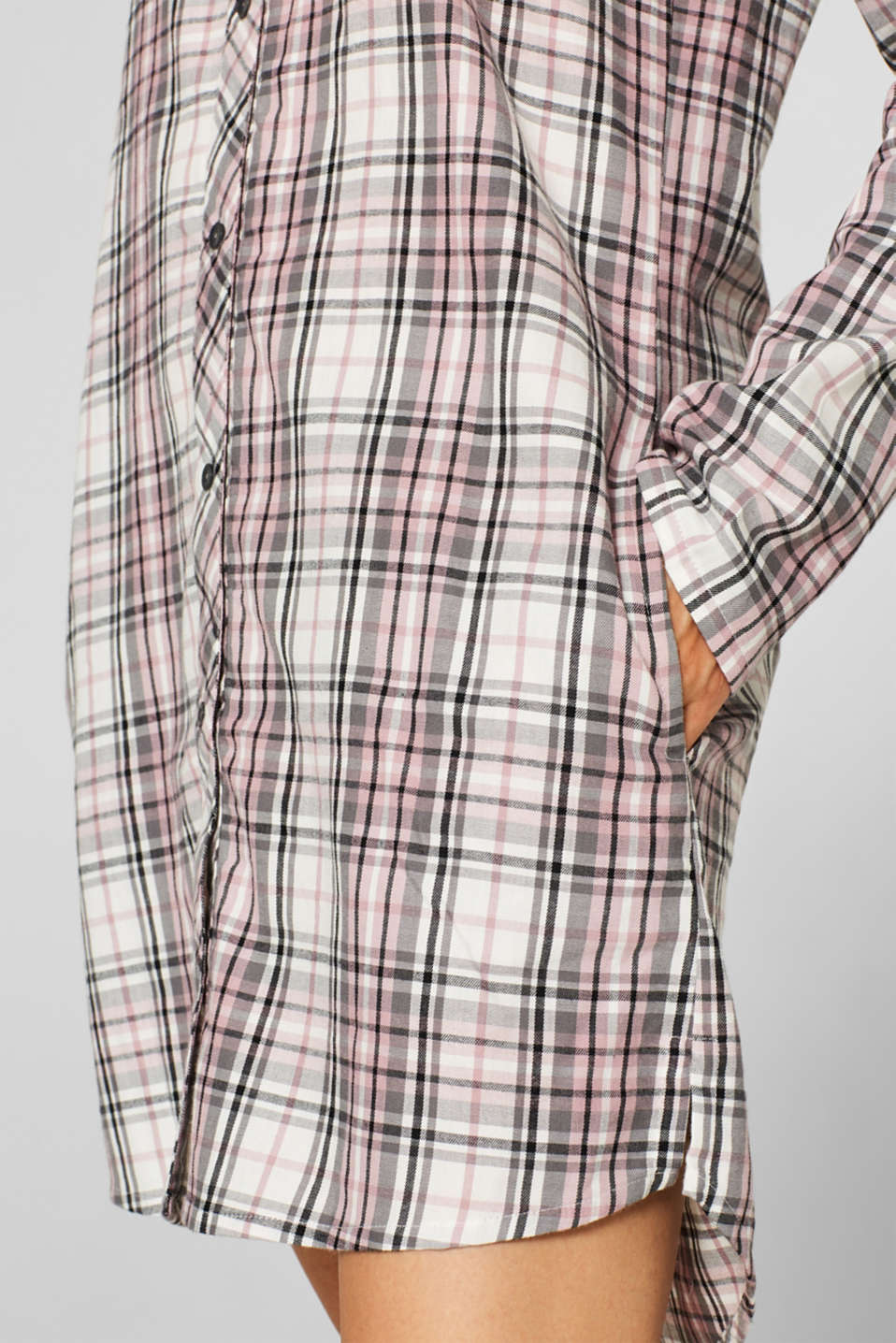 Flannel nightshirt made of 100% cotton, OFF WHITE, detail image number 3