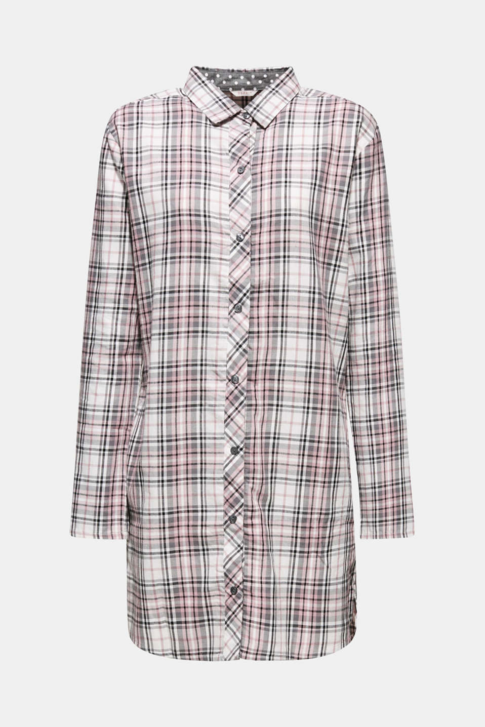 Flannel nightshirt made of 100% cotton, OFF WHITE, detail image number 5