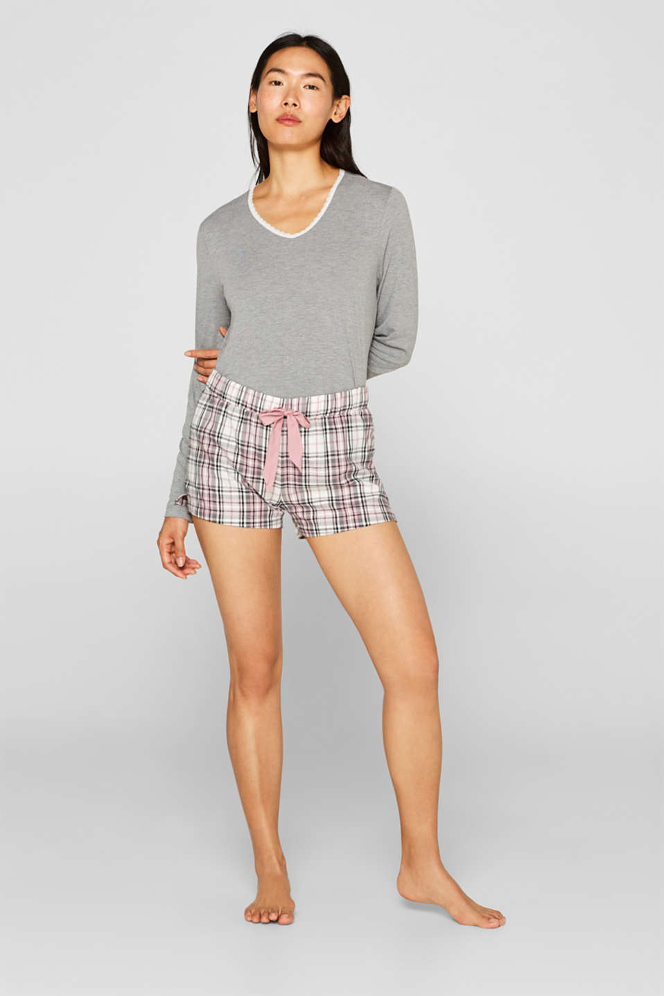 Flannel shorts, 100% cotton, OFF WHITE, detail image number 0