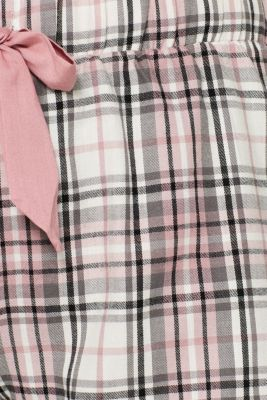 Flannel shorts, 100% cotton, OFF WHITE, detail