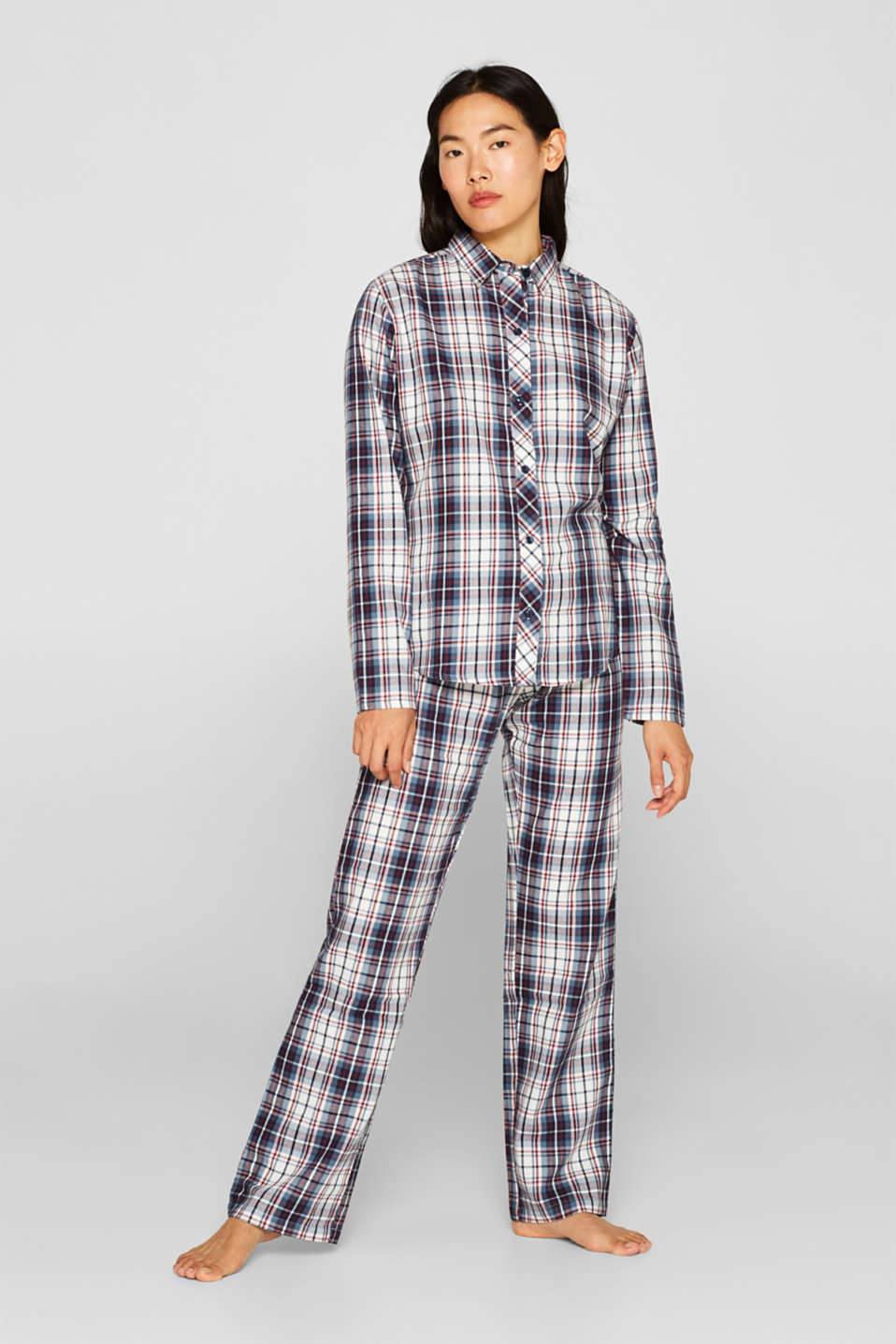 Flannel pyjamas, 100% cotton, NAVY, detail image number 0