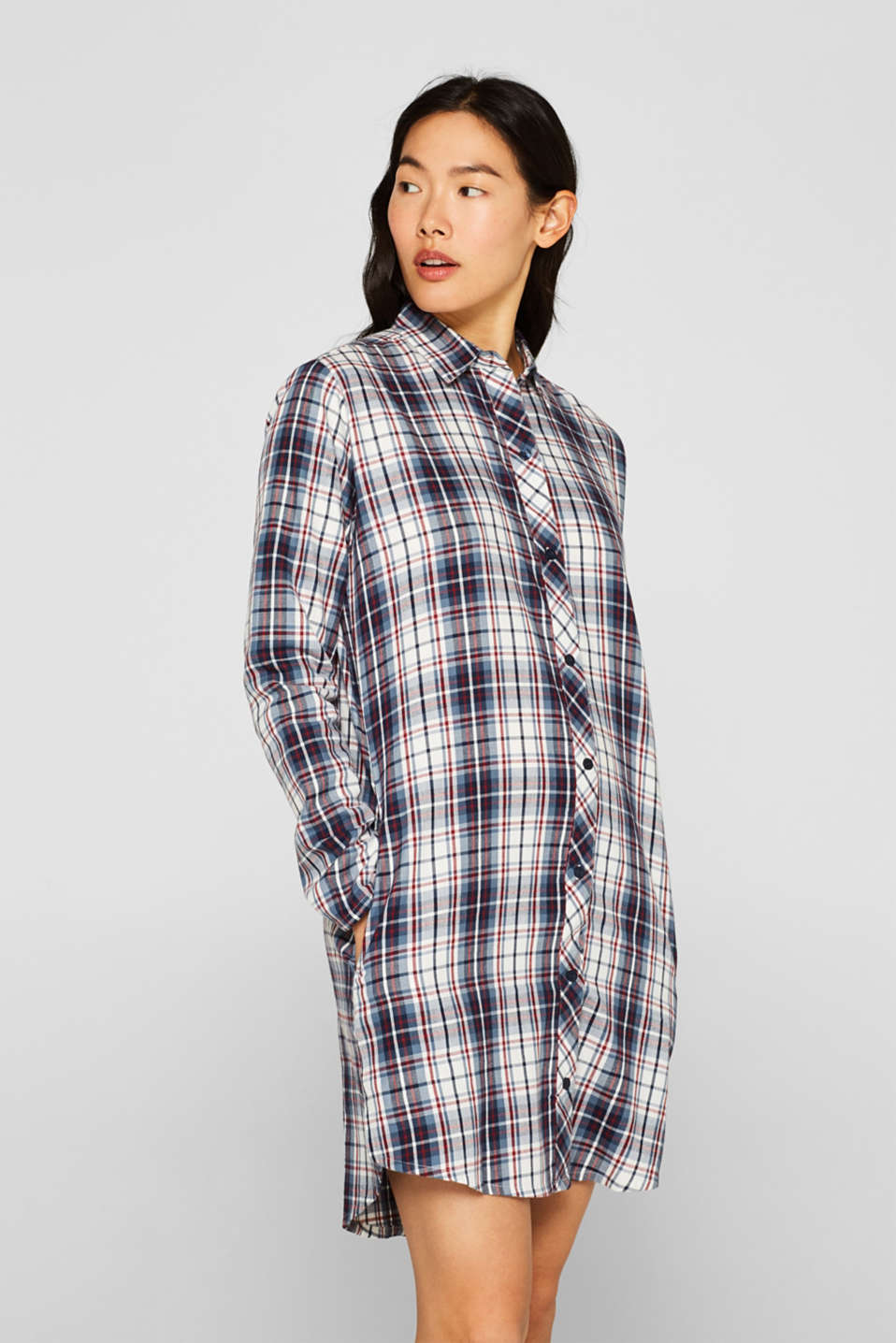 Flannel nightshirt made of 100% cotton, NAVY, detail image number 1