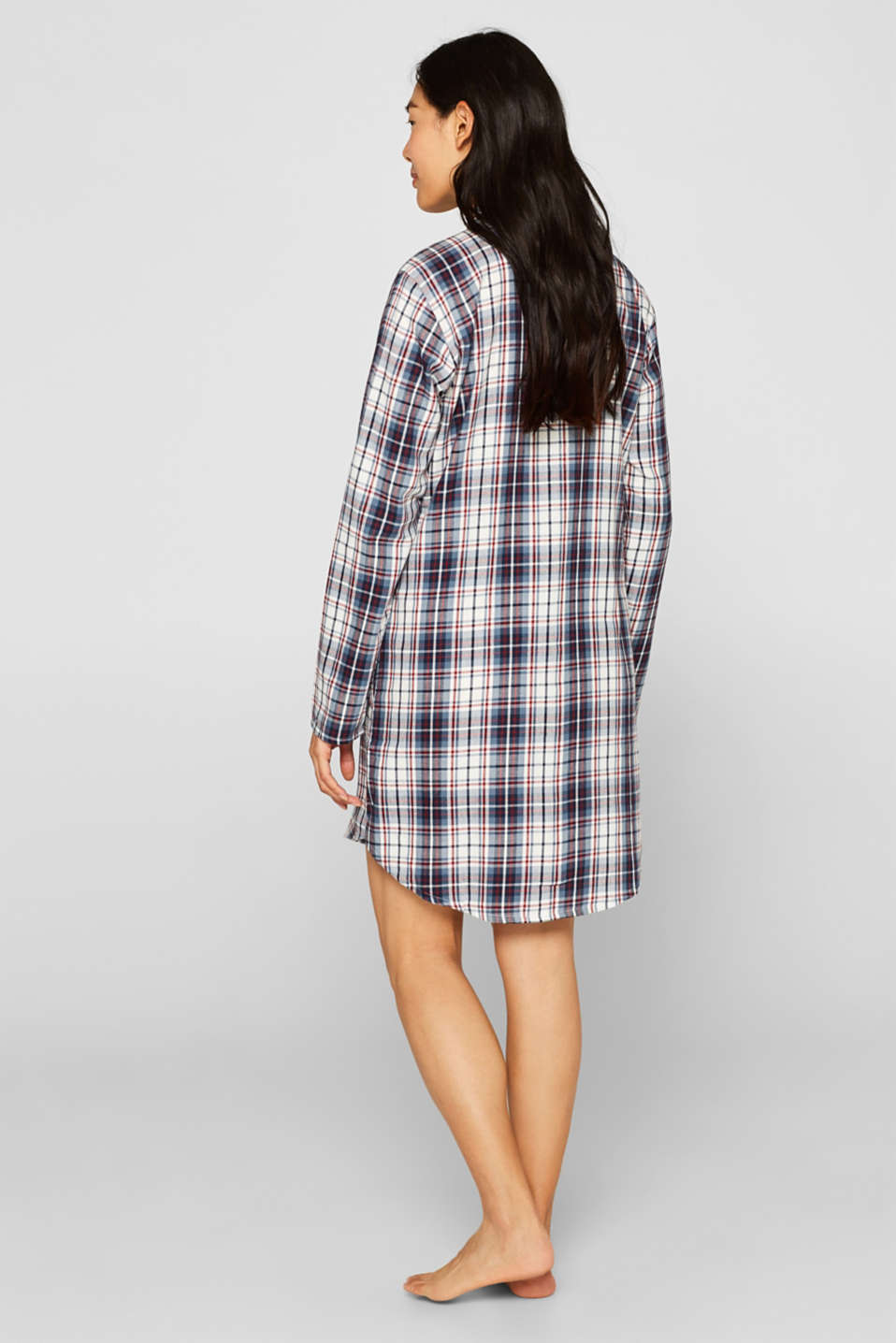 Flannel nightshirt made of 100% cotton, NAVY, detail image number 2