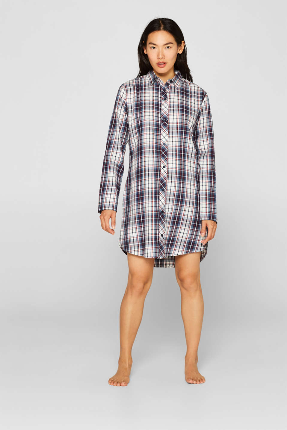 Flannel nightshirt made of 100% cotton, NAVY, detail image number 0