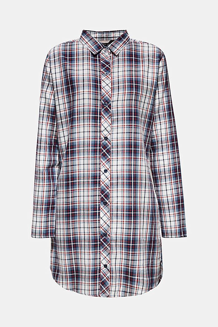 Flanellen nachthemd, 100% katoen, NAVY, detail image number 0