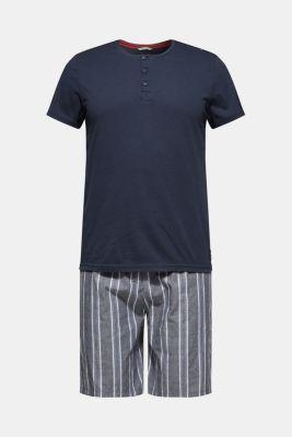 Jersey and fabric pyjamas, NAVY, detail
