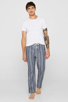 Pyjama bottoms with an elasticated waistband, 100% cotton, NAVY, detail